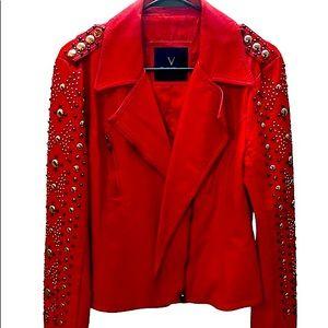 V Cristina Red Studded Moto Jacket Size Medium